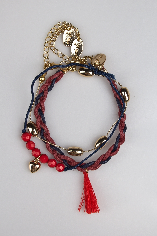 Набор браслетов Ред лайнМетал: гиппоаллергенный бижутерный сплав<br>