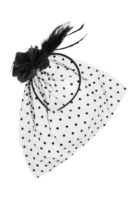 Обруч на голову с вуалью Мадам ВогМатериал: текстиль<br>
