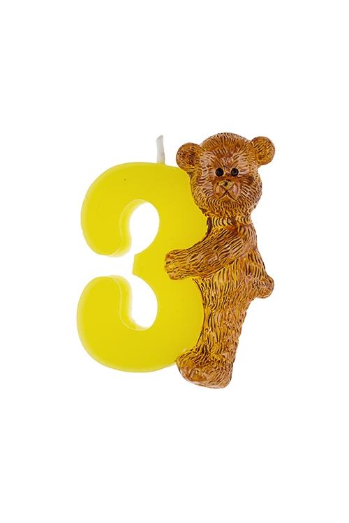 Свеча для торта Мишка и троечкаРазвлечения и вечеринки<br>Выс=7.5см, парафин<br>