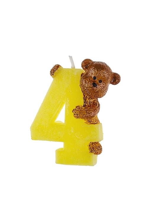 Свеча для торта Мишка и четверкаСвечи для торта и вечеринок<br>Выс=7.5см, парафин<br>