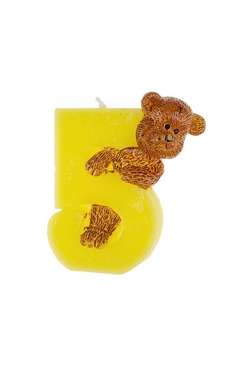 Свеча для торта Мишка и пятеркаРазвлечения и вечеринки<br>Выс=7.5см, парафин<br>