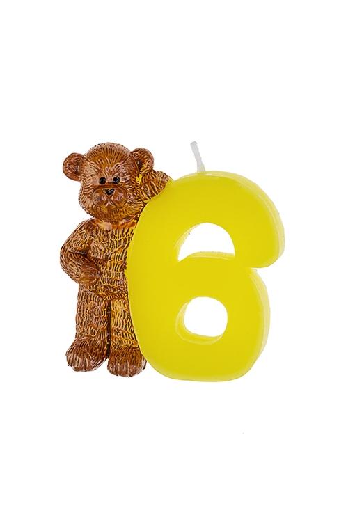 Свеча для торта Мишка и шестеркаРазвлечения и вечеринки<br>Выс=7.5см, парафин<br>