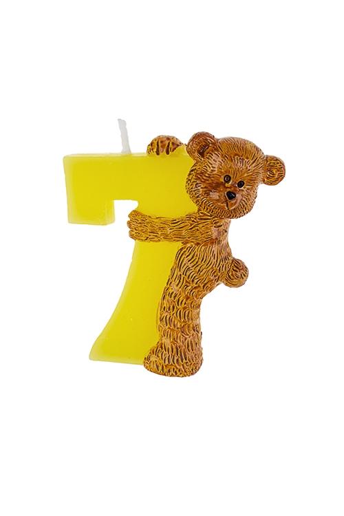 Свеча для торта Мишка и семеркаРазвлечения и вечеринки<br>Выс=7.5см, парафин<br>