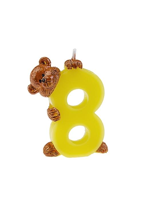 Свеча для торта Мишка и восьмеркаРазвлечения и вечеринки<br>Выс=7.5см, парафин<br>