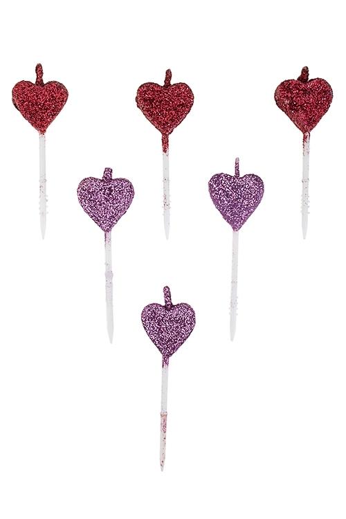 Набор свечей для торта СердечкиРазвлечения и вечеринки<br>6-предм., парафин<br>