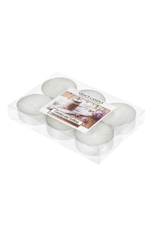 Набор свечей-таблеток ароматизированных Кокос и вербенаИнтерьер<br>6-предм., парафин, воск<br>