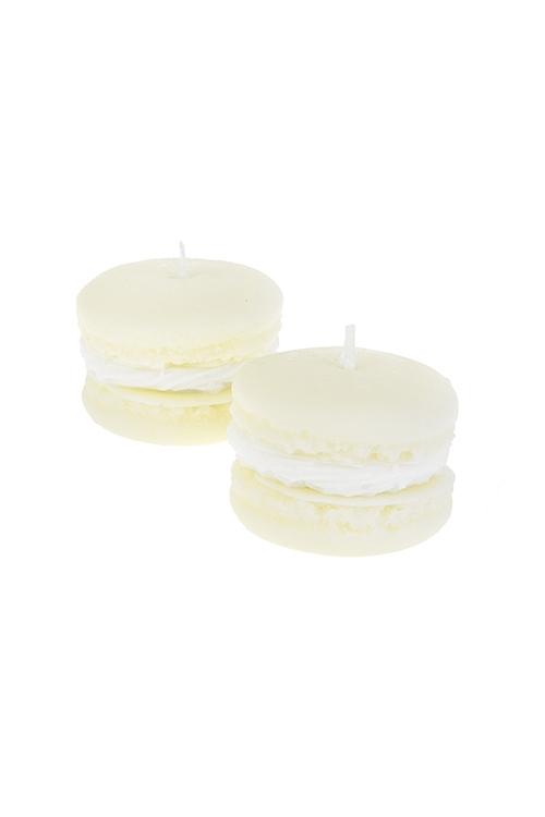 Набор свечей ароматизированных МакаруныИнтерьер<br>2-предм., Д=56см, парафин, воск, крем. (ванильный тортик)<br>