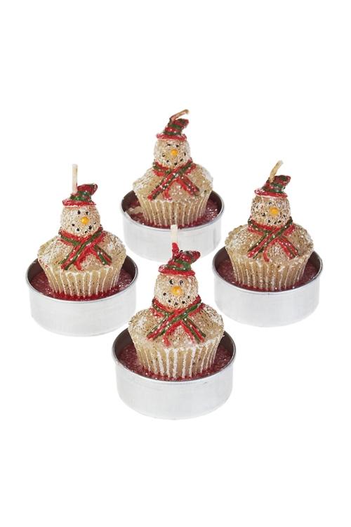 Набор свечей-таблеток новогодних Пряничные снеговикиИнтерьер<br>Д=4см, парафин<br>