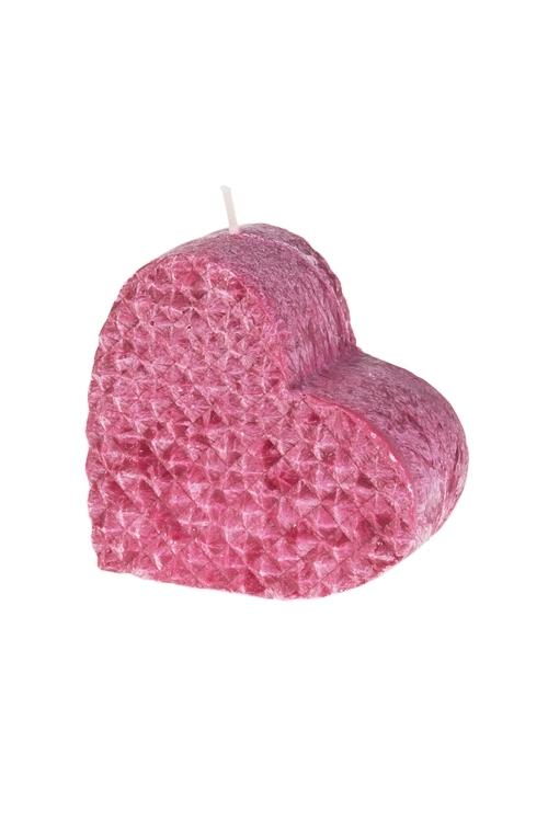 Свеча СердцеДекоративные свечи<br>10*5*10см, стеарин, темно-розовая<br>