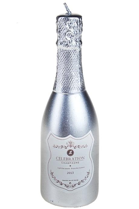Свеча ШампанскоеДекоративные свечи<br>Выс=15.4см парафин серебр.<br>