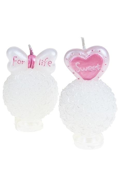 Набор свечей Влюбленная парочкаСвечи на свадьбу<br>2-предм. Выс=7см парафин бело-розовый<br>