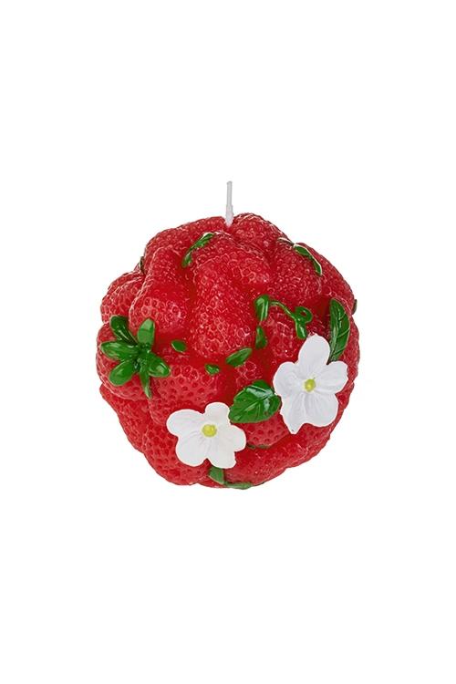 Свеча Клубничный шарПодарки на 8 марта<br>Д=12см, парафин, красно-зеленая<br>