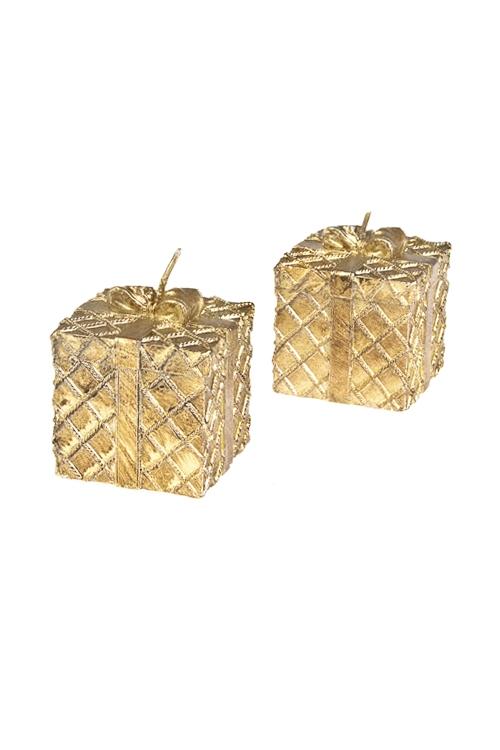Набор свечей ПодаркиДекоративные свечи<br>6*6см, парафин, золот.<br>