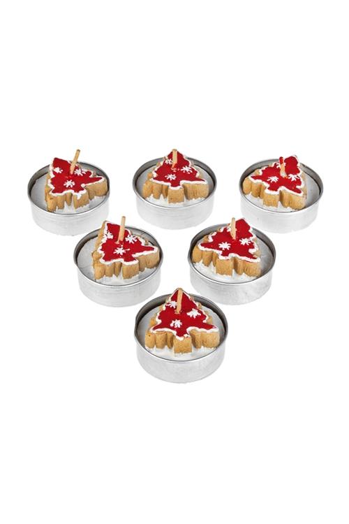 Набор свечей-таблеток Пряничные елочкиИнтерьер<br>Д=4см, парафин, беж.-красный<br>