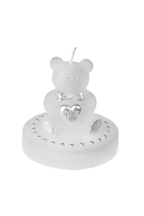 Свеча МишкаСвечи на свадьбу<br>Выс=7см, парафин, бело-серебр.<br>