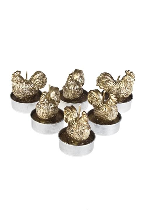 Набор свечей-таблеток Петушок - счастливый гребешокДекоративные свечи<br>Д=4см, парафин, золот.<br>