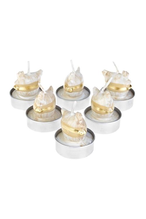 Набор свечей-таблеток Петушок - счастливый гребешокИнтерьер<br>Д=4см, парафин, крем.<br>