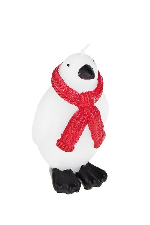 Свеча Пингвин с шарфикомДекоративные свечи<br>Выс=11см, парафин, бело-красная<br>