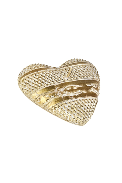 Свеча Сердце со старинным узоромИнтерьер<br>10*10см, парафин, золот.<br>