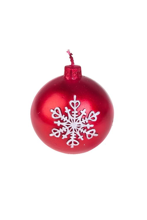Свеча Елочный шар со снежинкойИнтерьер<br>Д=7см, парафин, красная<br>