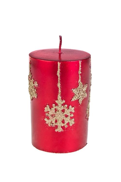 Свеча СнежинкиИнтерьер<br>Выс=11см, парафин, красно-золот.<br>