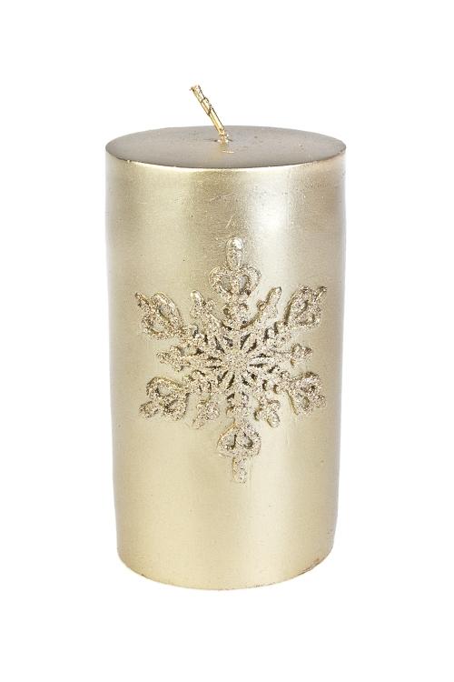 Свеча СнежинкаИнтерьер<br>Выс=11см, парафин, золот.<br>