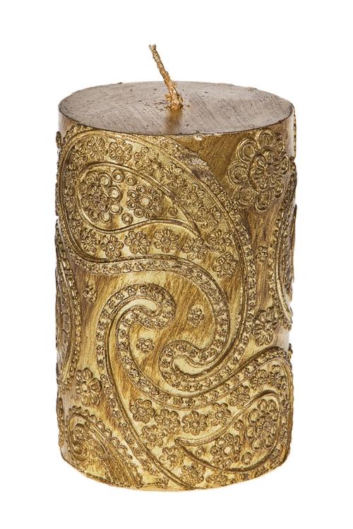 Свеча Прекрасный узорИнтерьер<br>Выс=11см, парафин, золот.<br>