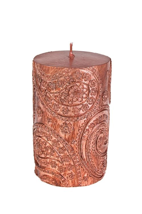 Свеча Прекрасный узорИнтерьер<br>Выс=11см, парафин, розово-золот.<br>