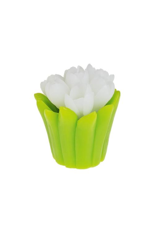 Свеча ТюльпаныДекоративные свечи<br>Выс=8см, парафин, бело-зеленая<br>