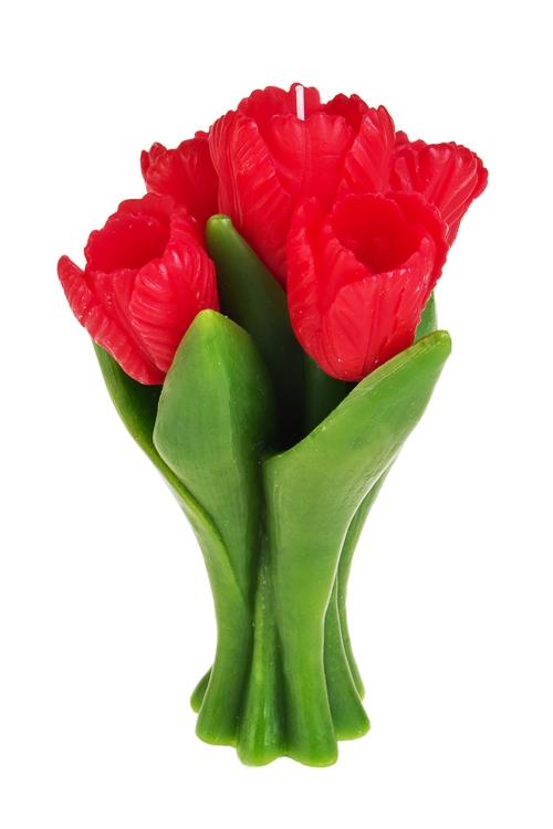 Свеча Букет тюльпановИнтерьер<br>Выс=20см, парафин, красная<br>