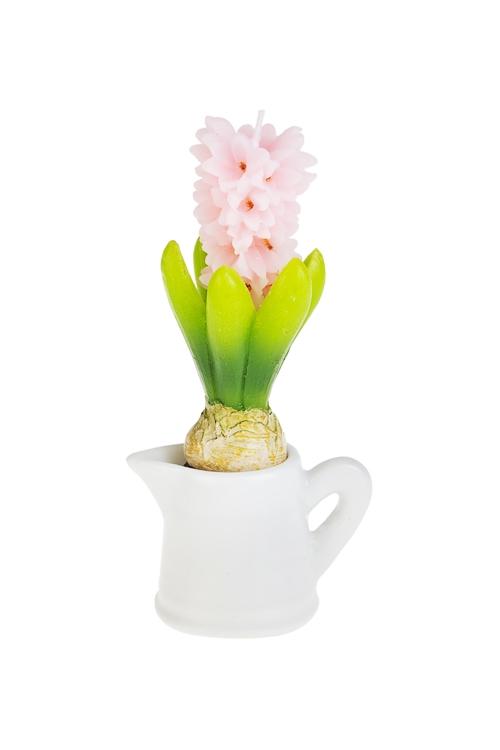 Свеча Гиацинт в кувшинчикеДекоративные свечи<br>Выс=18см, парафин, бело-зелено-розовая<br>