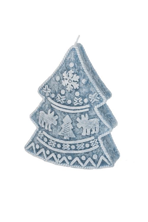 Свеча новогодняя Вязаная елочкаИнтерьер<br>Выс=13см, парафин, светло-голубая<br>