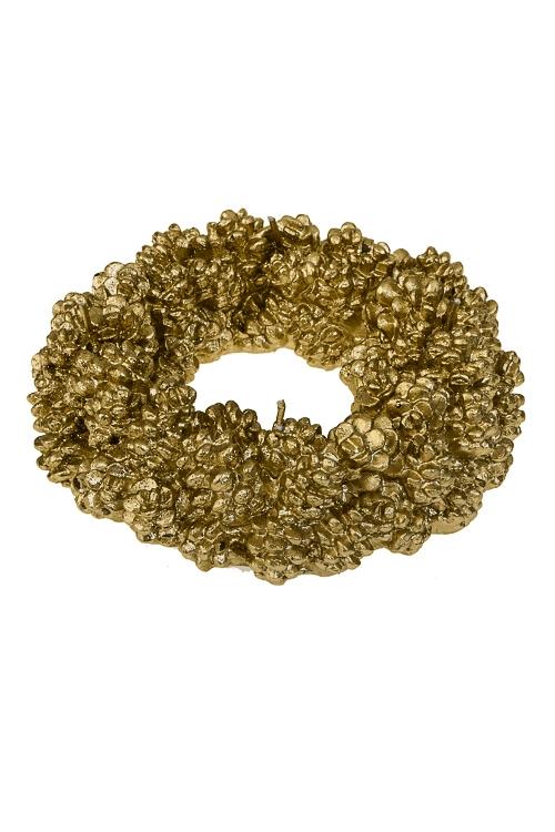 Свеча Прекрасный венок из шишекИнтерьер<br>Д=15см, парафин, золот.<br>