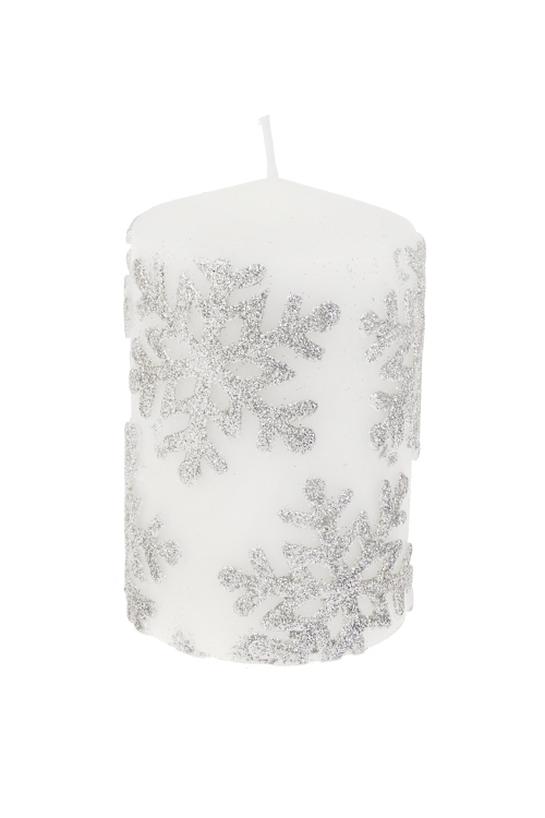 Свеча СнежинкиДекоративные свечи<br>Выс=11см, парафин, бело-серебр.<br>