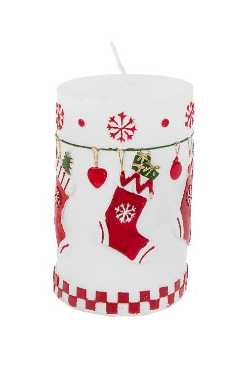 Свеча новогодняя Праздничные носочкиДекоративные свечи<br>Выс=11см, парафин, бело-красно-зеленая<br>
