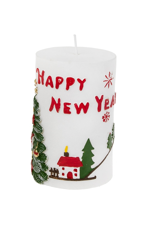 Свеча новогодняя Веселый праздникИнтерьер<br>Выс=11см, парафин, бело-красно-зеленая<br>