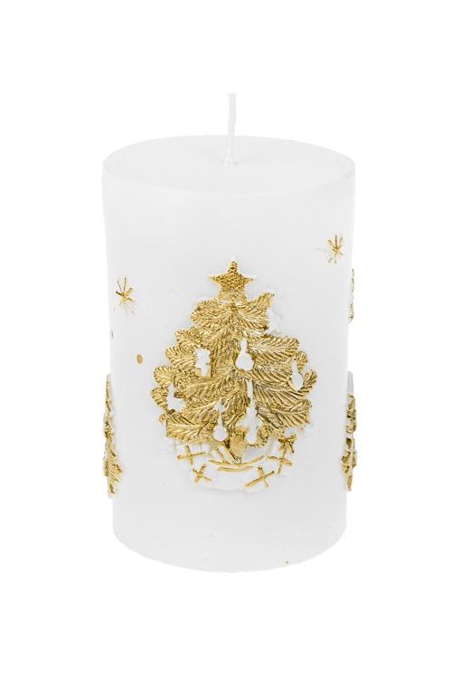 Свеча Волшебный оленьДекоративные свечи<br>Выс=11см, парафин, бело-золот.<br>