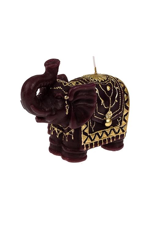 Свеча Слон с узорамиИнтерьер<br>12.5*10см, парафин, борд.-золот.<br>