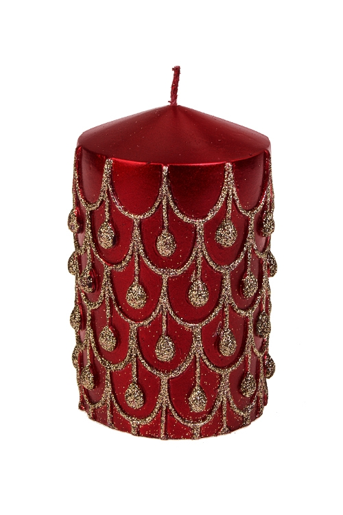 Свеча Праздничные шарикиДекоративные свечи<br>Выс=11см, парафин, бордово-золот.<br>