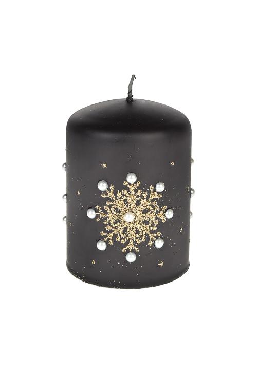 Свеча Прекрасная снежинка с жемчужинкамиДекоративные свечи<br>Выс=10см, парафин, черно-золот.<br>