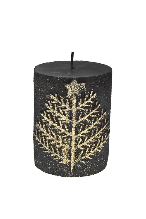 Свеча Прекрасная елочкаИнтерьер<br>Выс=10см, парафин, черно-золот.<br>
