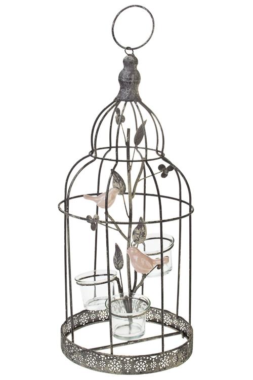Подсвечник для 3-х свечей-таблеток Клетка с птицейПодсвечники<br>Выс=43см, металл, керам., стекло, серый<br>