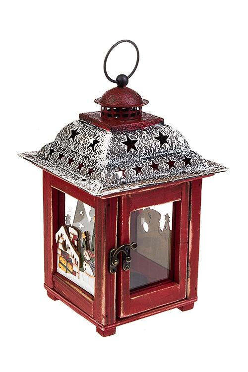Подсвечник для свечи-таблетки ЛампаПодсвечники<br>17*26см, металл, дерево, стекло, красно-черно-белый, подвес.<br>