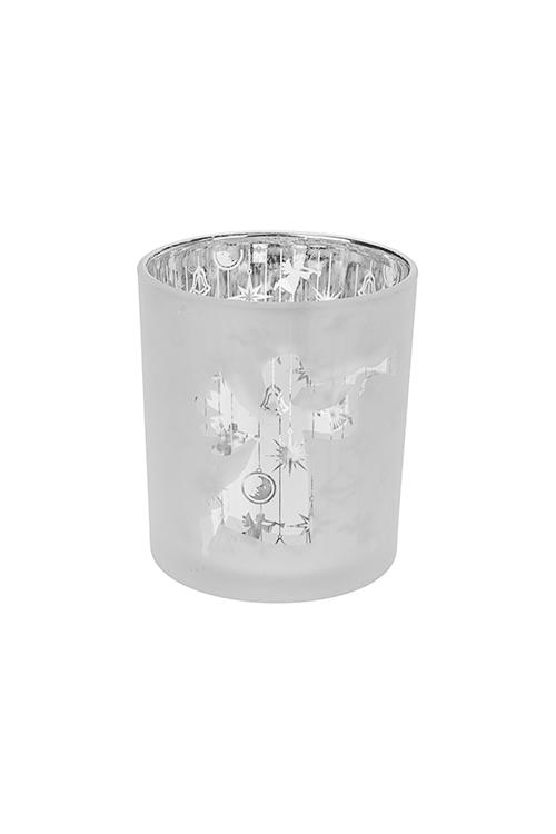 Подсвечник для свечи-таблетки Музыкальный ангелИнтерьер<br>Выс=8см, стекло, бело-серебр.<br>