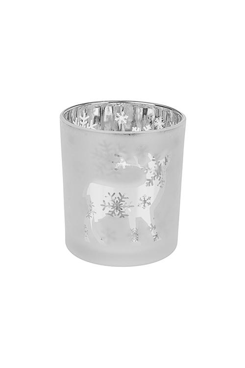 Подсвечник для свечи-таблетки Сказочный оленьИнтерьер<br>Выс=8см, стекло, бело-серебр.<br>