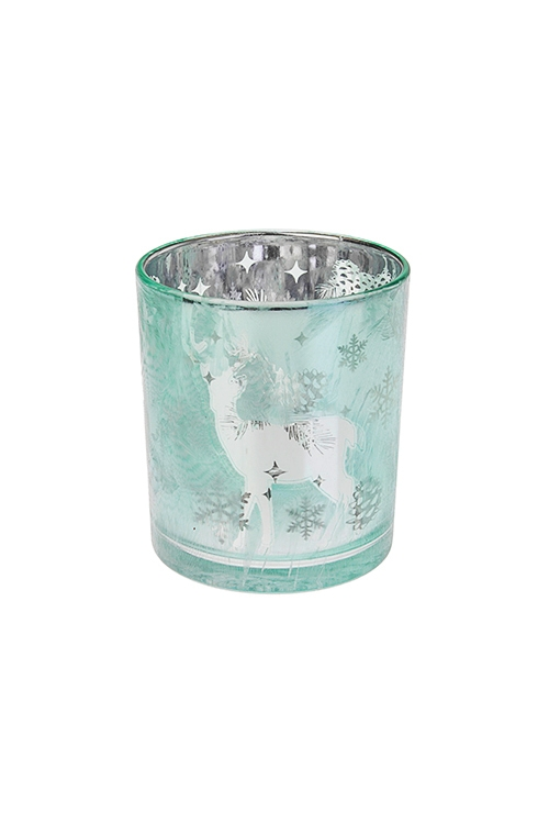 Подсвечник для свечи-таблетки Волшебный оленьПодсвечники<br>Выс=8см, стекло, мятный<br>