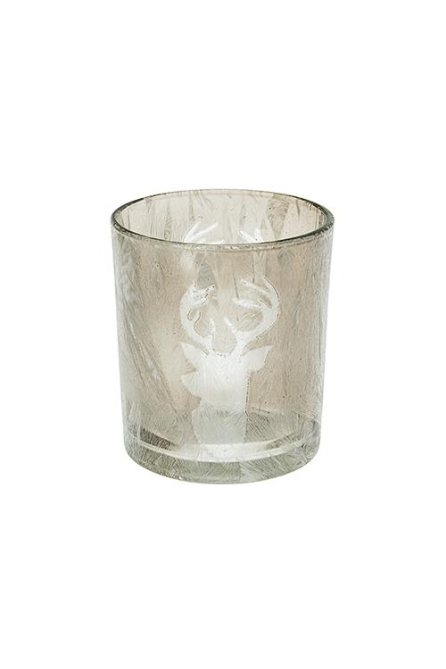 Подсвечник для свечи-таблетки ОленьИнтерьер<br>Выс=8см, стекло, серый<br>