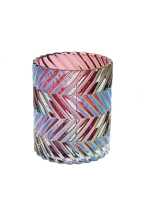 Подсвечник для свечи-таблетки Блеск гранейИнтерьер<br>Выс=9см, стекло, фиолет.-перламутр.<br>