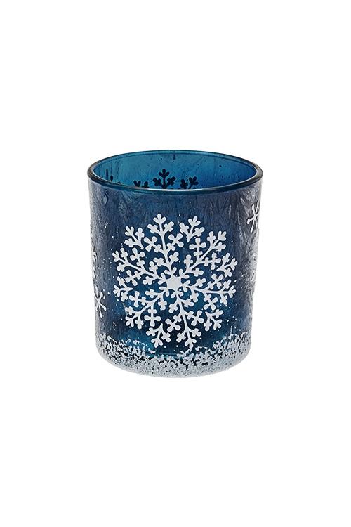 Подсвечник для свечи-таблетки СнежинкаИнтерьер<br>Выс=8см, стекло, сине-белый<br>