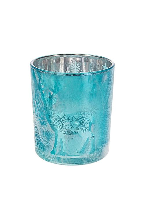 Подсвечник для свечи-таблетки Прекрасный оленьИнтерьер<br>Выс=10см, стекло, бирюз.<br>